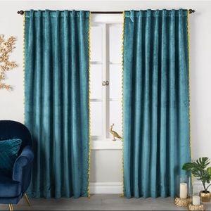 Teal Velvet Curtain Panel